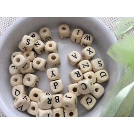 Perles cubes alphabet en bois