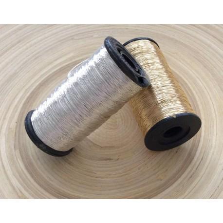2 Bobines de fil doré et argenté
