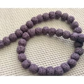 10 Perles de lave violettes 6mm