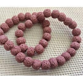 Perles de lave roses 6mm