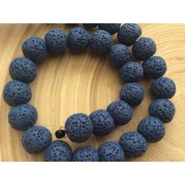 Perles de lave bleues foncêes x10