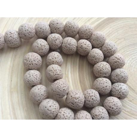 Perles de lave beiges 10 mm
