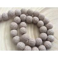 Perles de lave beiges x10