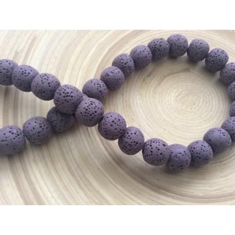 Lot de Perles de lave violettes 10 mm