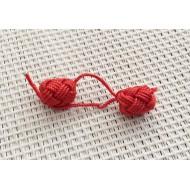 4 Perles boutons en soie Rouge / Aakad