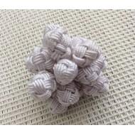 Perles boutons en soie végétale blanche