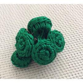 Perles fleurs en fil de soie vert foncé
