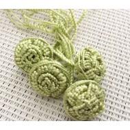 Perles fleurs x4 de couleur vert clair