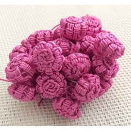Perles fleurs Roses en fil de soie