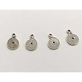 4 Breloques spirales argentées