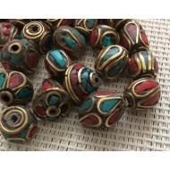 Perles tibétaines mixées x10