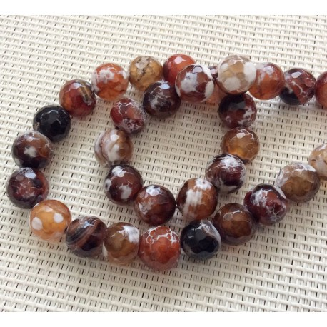 Perles en Agate marron à facettes