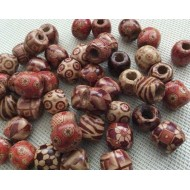 Perles peintes en bois x20
