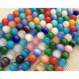 Lot de perles œil de chat multicolores