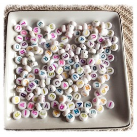 Perles alphabet colorées rondes
