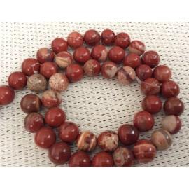 Perles de jaspe rouges marbrées