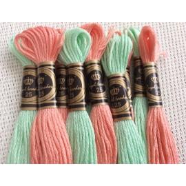 Echevettes en coton bicolores saumon et vert