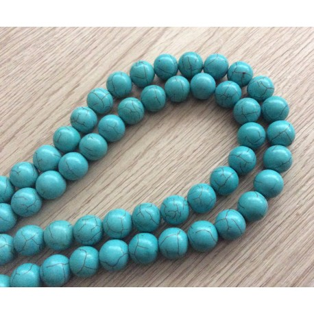 10 perles rondes turquoises 12 mm