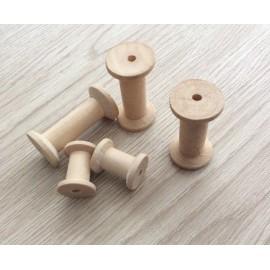 5 bobines en bois brut