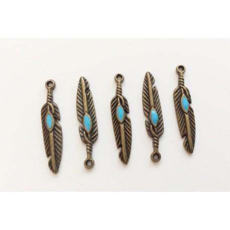 5 plumes bronze avec émail turquoise