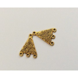 2 connecteurs triangulaires dorés