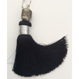 Pompon 16 cm, Noir, et sa perle ciselée