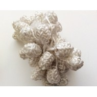 Perles boutons grand modèle en soie végétale blanche