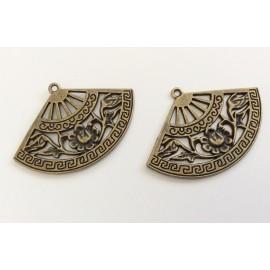 Paire de breloques éventails bronzes