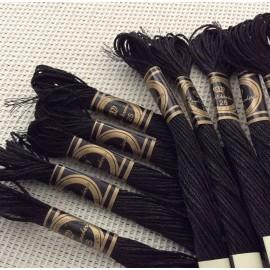 Lot de 10 Echevettes de fils métallisés noires