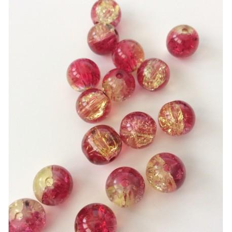 Perles en verre craquelé rouges-dorées