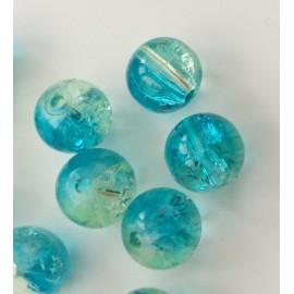 Perles en verre craquelé bleu-vert