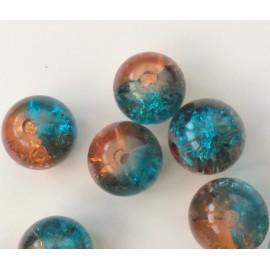 Perles en verre craquelé bleu-cuivre