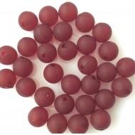 Perles rondes couleur bordeaux  en résine