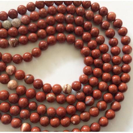 Perles de jaspe rouges marbrêes