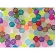 Perles en verre mat aux couleurs mixées