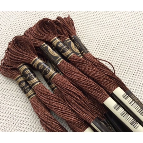 10 Echevettes de fils metalliques couleur Marron