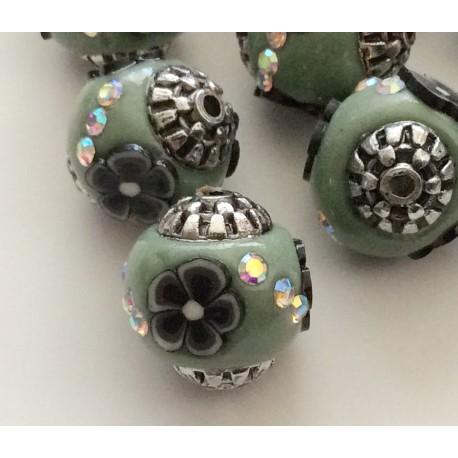 5 perles indonésiennes bleu cadet