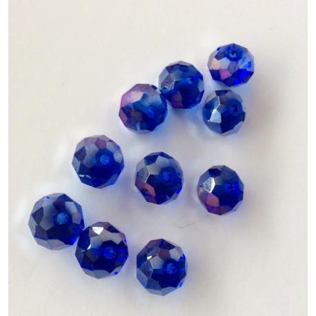 Perles à facettes bleues électriques