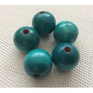 5 Perles rondes en bois turquoises