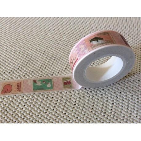Washi masking tape thème timbres naissance