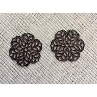 Estampes fleurs couleur bronze x2