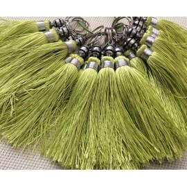 Pompon vert Soie végétale tressée