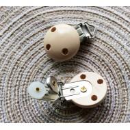Attache tétine pince clip en bois beige