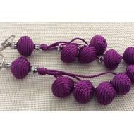 Porte clés Violet en perles de Soie tressée