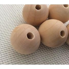 Perles en bois naturel 3 cm de diam.