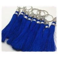Pompon breloque en Soie de couleur Bleu Électrique