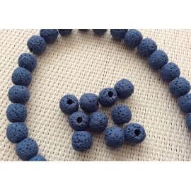 Perles de lave bleues foncées x10
