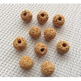 Lot de 10 Perles de lave Jaunes