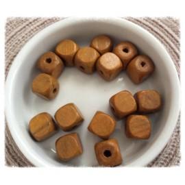 Perles cubes en bois Marron